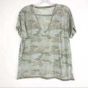 American Eagle Outfitters Tops - American Eagle Keyhole Camouflage Short Sleeve Top